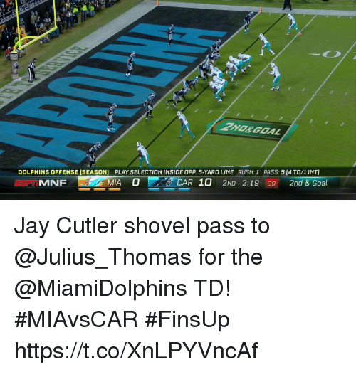 Jay, Memes, and Jay Cutler: DOLPHINS OFFENSE (SEASON)  PLAY SELECTION INSIDE OPP. 5-YARD LINE  RUSH: 1  PASS: 5 (4 TD/1 INT)  MNF  MIA O  CAR 10 2ND 2:19 09 2nd & Goal Jay Cutler shovel pass to @Julius_Thomas for the @MiamiDolphins TD!  #MIAvsCAR #FinsUp https://t.co/XnLPYVncAf