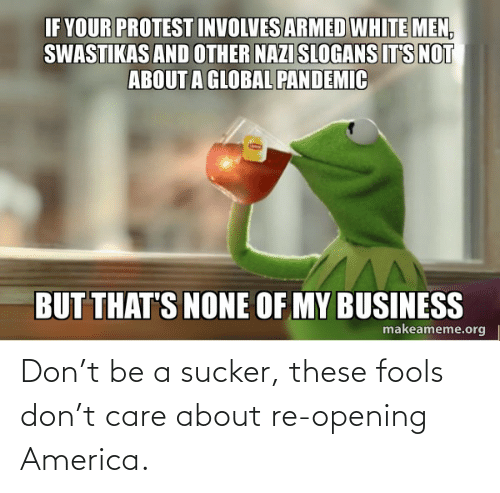 Opening: Don't be a sucker, these fools don't care about re-opening America.