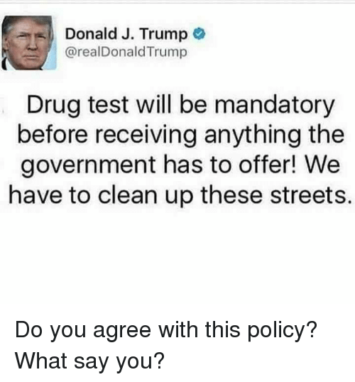 What Say You: Donald J. Trump  arealDonald Trump  Drug test will be mandatory  before receiving anything the  government has to offer! We  have to clean up these streets. Do you agree with this policy? What say you?