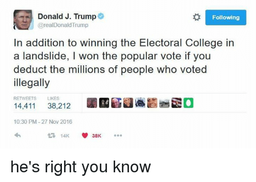Dank Memes: Donald J. Trump  Following  @real Donald Trump  In addition to winning the Electoral College in  a landslide, l won the popular vote if you  deduct the millions of people who voted  illegally  RETWEETS LIKES  14,411  38.212  10:30 PM 27 Nov 2016  14K  V 38K he's right you know