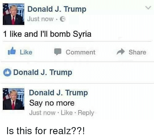 trump donald: Donald J. Trump  Just now .  1 like and I'l bomb Syria  11/ Like  Comment  → Share  Donald J. Trump  Donald J. Trump  Say no more  Just now Like Reply Is this for realz??!