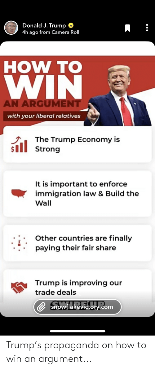 build-the-wall: Donald J. Trump O  4h ago from Camera Roll  HOW TO  WIN  AN ARGUMENT  with your liberal relatives  The Trump Economy is  sill Strong  It is important to enforce  immigration law & Build the  Wall  Other countries are finally  paying their fair share  Trump is improving our  trade deals  O snowflakevictory.com Trump's propaganda on how to win an argument...