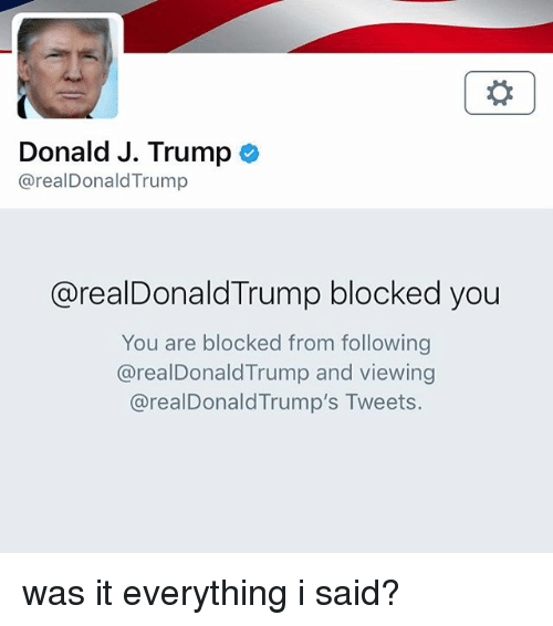 Memes, Trump, and 🤖: Donald J. Trump o  @realDonaldTrump  @realDonaldTrump blocked you  You are blocked from following  @realDonaldTrump and viewing  @realDonaldTrump's Tweets. was it everything i said?