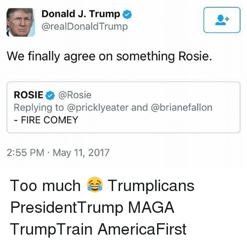 Donald Trump, Fire, and Memes: Donald J. Trump  @real Donald Trump  We finally agree on something Rosie.  ROSIE @Rosie  Replying to @pricklyeater and abrianefallon  FIRE COMEY  2:55 PM May 11, 2017 Too much 😂 Trumplicans PresidentTrump MAGA TrumpTrain AmericaFirst
