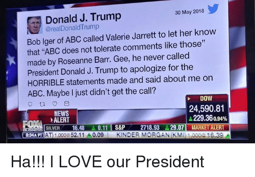"""Abc, Love, and Memes: Donald J. Trump  @realDonaldTrump  30 May 2018  Bob lger of ABC called Valerie Jarrett to let her know  that """"ABC does not tolerate comments like those""""  made by Roseanne Barr. Gee, he never called  President Donald J. Trump to apologize for the  HORRIBLE statements made and said about me on  ABC. Maybe I just didn't get the call?  DOW  NEWS  ALERT  24,590.81  229.36 0.94%  .LISILVER-16.48.. 0.11 