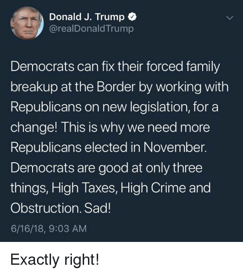 Crime, Family, and Memes: Donald J. Trump  @realDonaldTrump  Democrats can fix their forced family  breakup at the Border by working with  Republicans on new legislation, for a  change! This is why we need more  Republicans elected in November.  Democrats are good at only three  things, High Taxes, High Crime and  Obstruction. Sad!  6/16/18, 9:03 AM Exactly right!