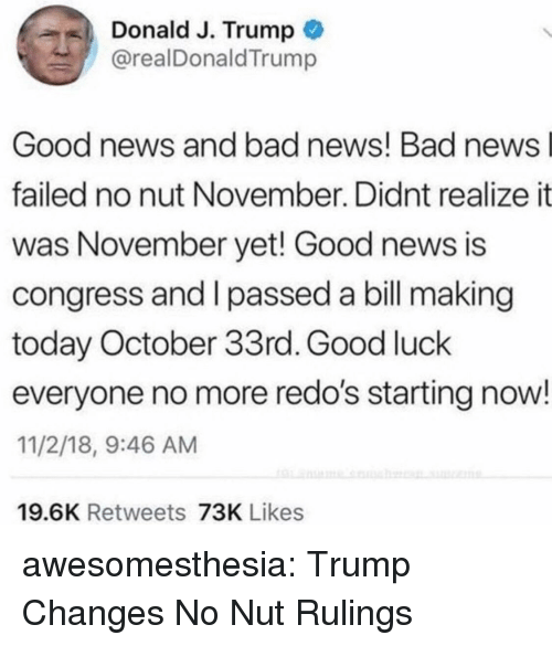 I Passed: Donald J. Trump  @realDonaldTrump  Good news and bad news! Bad news  failed no nut November. Didnt realize it  was November yet! Good news is  congress and I passed a bill making  today October 33rd. Good luck  everyone no more redo's starting now!  11/2/18, 9:46 AM  19.6K Retweets 73K Likes awesomesthesia:  Trump Changes No Nut Rulings