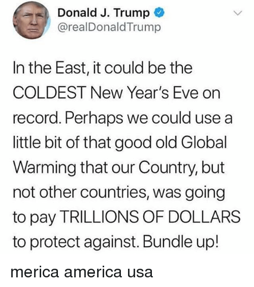 America, Global Warming, and Memes: Donald J. Trump  @realDonaldTrump  In the East, it could be the  COLDEST New Year's Eve on  record. Perhaps we could use a  little bit of that good old Global  Warming that our Country, but  not other countries, was going  to pay TRILLIONS OF DOLLARS  to protect against. Bundle up! merica america usa