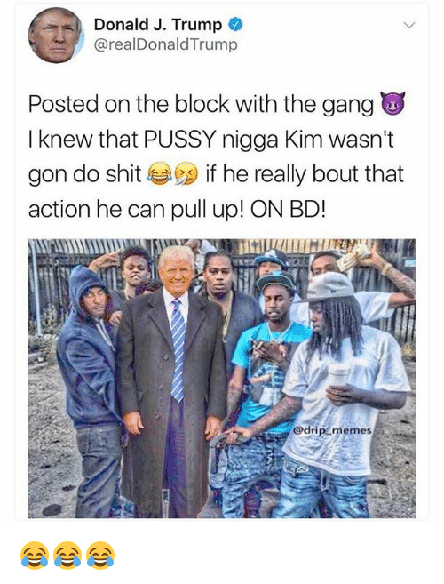 Funny, Memes, and Pussy: Donald J. Trump  @realDonaldTrump  Posted on the block with the gang  I knew that PUSSY nigga Kim wasn't  gon do shit 29 if he really bout that  action he can pull up! ON BD!  memes 😂😂😂