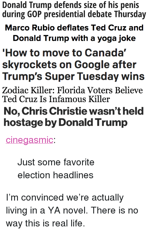 """Donald Trump, Google, and Life: Donald Trump defends size of his penis  during GOP presidential debate Thursday   Donald Trump with a yoga joke   How to move to Canada""""  skyrockets on Google after  Trump's Super Tuesday wins   Zodiac Killer: Florida Voters Believe  Ted Cruz Is Infamous Killer   No, Chris Christie wasn't held  hostage by Donald Trump <p><a href=""""http://cinegasmic.tumblr.com/post/140429573653/just-some-favorite-election-headlines"""" class=""""tumblr_blog"""">cinegasmic</a>:</p><blockquote><p>Just some favorite election headlines</p></blockquote>  <p>I&rsquo;m convinced we&rsquo;re actually living in a YA novel. There is no way this is real life.</p>"""