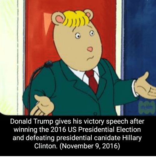 Donald Trump, Hillary Clinton, and Presidential Election: Donald Trump gives his victory speech after  winning the 2016 US Presidential Election  and defeating presidential canidate Hillary  Clinton. (November 9, 2016)