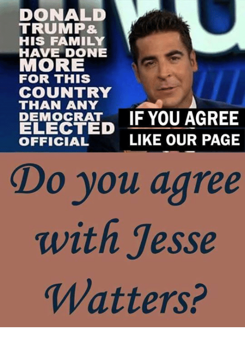 Donald Trump, Family, and Memes: DONALD  TRUMP&  HIS FAMILY  HAVE DONE  MORE  FOR THIS  COUNTRY  THAN ANY  PEMORATIF YOU AGREE  ELECTED  OFFICIAL  LIKE OUR PAGE  Do you agree  with Jesse  Watters