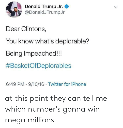 donald trump jr: Donald Trump Jr.  @DonaldJTrumpJr  YD  Dear Clintons,  You know what's deplorable?  Being Impeached!!!  #BasketOfDeplorables  6:49 PM · 9/10/16 · Twitter for iPhone at this point they can tell me which number's gonna win mega millions