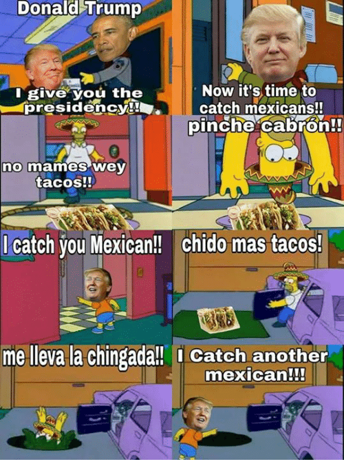 No Mames Wey: Donald Trump  Now it's time to  I give You the  presidency!  l catch mexicans!!  pinche cabron!  no mames Wey  tacos!!  catch you Mexican!! chido mas tacos!  me lleva la Chingada!! Catch another  mexican!!!