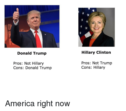 America, Donald Trump, and Hillary Clinton: Donald Trump  Pros: Not Hillary  Cons: Donald Trump  Hillary Clinton  Pros: Not Trump  Cons: Hillary America right now