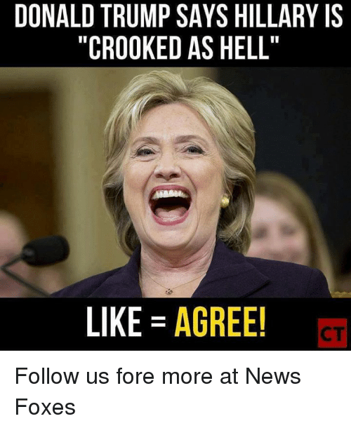 "Donald Trump, Memes, and News: DONALD TRUMP SAYS HILLARY IS  ""CROOKED AS HELL'  LIKE AGREE! Follow us fore more at News Foxes"