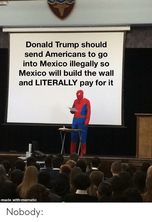 build-the-wall: Donald Trump should  send Americans to go  into Mexico illegally so  Mexico will build the wall  and LITERALLY pay for it  made with mematic Nobody: