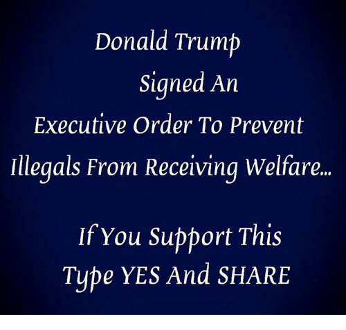 executive order: Donald Trump  Signed An  Executive Order To Prevent  Illegals From Receiving Welfare.  If You Support This  Tube YES And SHARE
