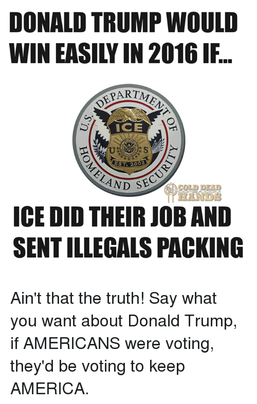 Trump: DONALD TRUMP WOULD  ART ME  ICE  EST 2003  SEC  AND  ICE DID THEIR JOB AND  SENTILLEGALS PACKING Ain't that the truth! Say what you want about Donald Trump, if AMERICANS were voting, they'd be voting to keep AMERICA.