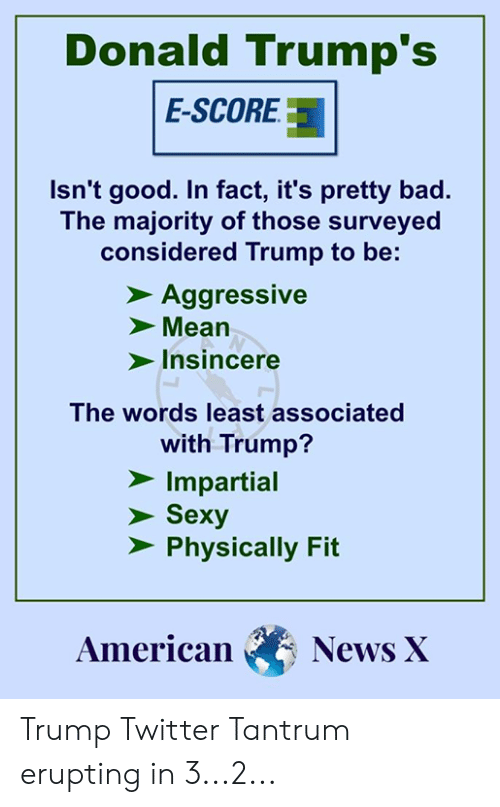Trump Twitter: Donald Trump's  E-SCORE3  Isn't good. In fact, it's pretty bad.  The majority of those surveyed  considered Trump to be:  Aggressive  Mean  Insincere  The words least associated  with Trump?  Impartial  Sexy  Physically Fit  AmericanNews X Trump Twitter Tantrum erupting in 3...2...
