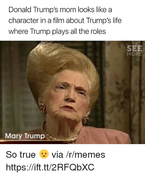 Donald Trumps: Donald Trump's mom looks like a  character in a film about Trump's life  where Trump plays all the roles  SEE  MORE  Mary Trump So true 😦 via /r/memes https://ift.tt/2RFQbXC