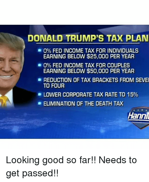 DONALD TRUMP'S TAX PLAN 0% FED INCOME TAX FOR INDIVIDUALS