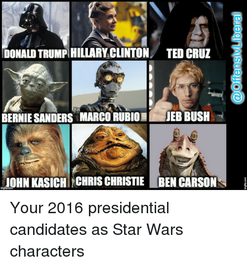 Ben Carson, Bernie Sanders, and Star Wars: DONALDTRUMPHILLARY CLINTON TED CRUZ  BERNIE SANDERS MARCO RUBIO  JEBBUSH  JOHN KASICH CHRIS CHRISTIE BEN CARSON  innglipcom Your 2016 presidential candidates as Star Wars characters