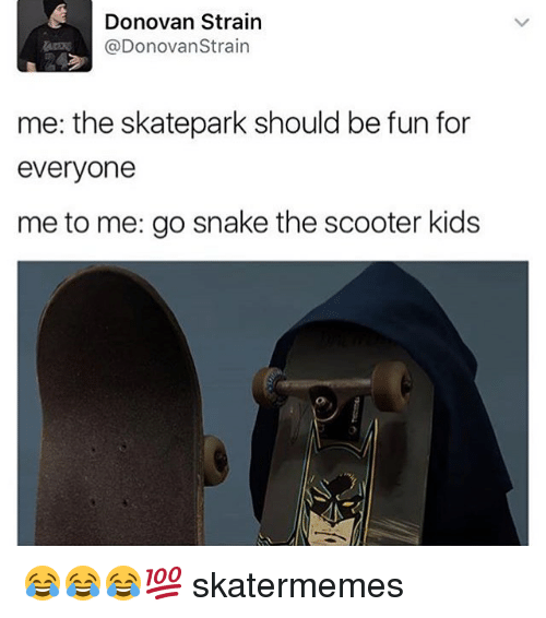 Scooter, Snake, and Snakes: Donovan Strain  @Donovan Strain  me: the skatepark should be fun for  everyone  me to me: go snake the scooter kids 😂😂😂💯 skatermemes