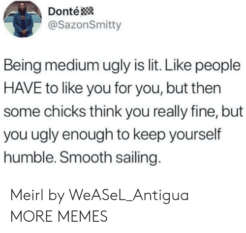 chicks: Donté  @SazonSmitty  Being medium ugly is lit. Like people  HAVE to like you for you, but then  some chicks think you really fine, but  you ugly enough to keep yourself  humble. Smooth sailing. Meirl by WeASeL_Antigua MORE MEMES