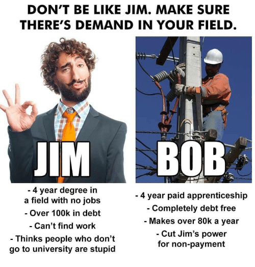 100k: DON'T BE LIKE JIM. MAKE SURE  THERE'S DEMAND IN YOUR FIELD  IM BOB  4 year degree in  a field with no jobs  - Over 100k in debt  Can't find work  - Thinks people who don't  go to university are stupid  - 4 year paid apprenticeship  Completely debt free  Makes over 80k a year  Cut Jim's power  for non-payment
