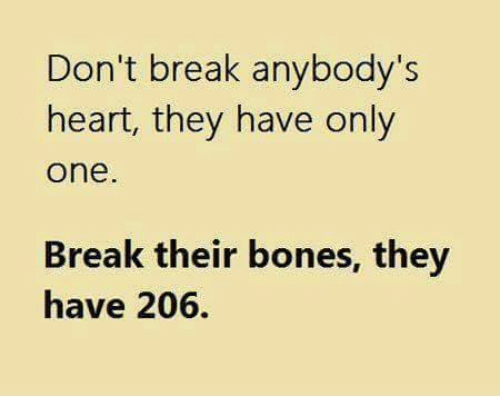 Bones, Memes, and Break: Don't break anybody's  heart, they have only  One  Break their bones, they  have 206.