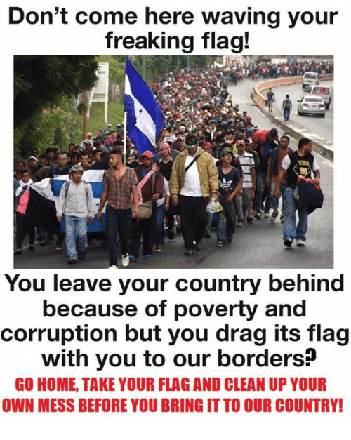 Corruption: Don't come here waving your  freaking flag!  You leave your country behind  because of poverty and  corruption but you drag its flag  with you to our borders?  GO HOME, TAKE YOUR FLAG AND CLEAN UP YOUR  OWN MESS BEFORE YOU BRING IT TO OUR COUNTRY!