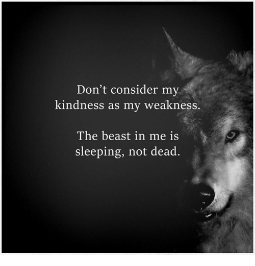 Kindness: Don't consider my  kindness as my weakness.  The beast in me is  sleeping, not dead.
