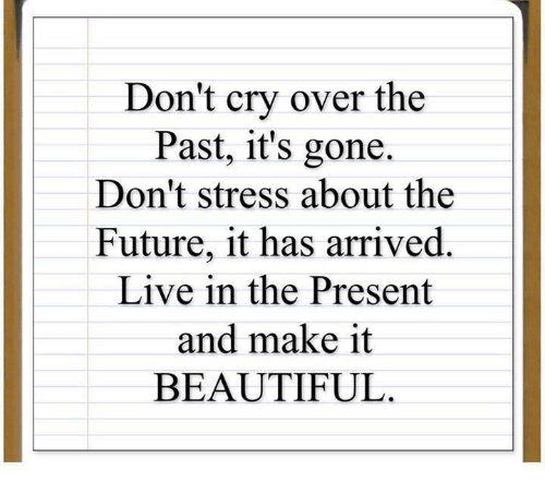 present: Don't cry over the  Past, it's gone.  Don't stress about the  Future, it has arrived.  Live in the Present  and make it  BEAUTIFUL