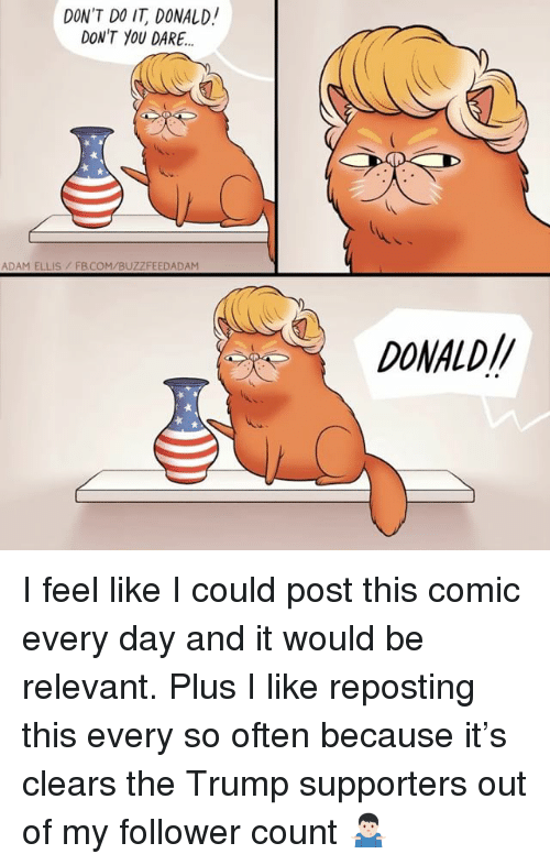 Memes, fb.com, and Trump: DON'T DO IT, DONALD!  DON'T YOU DARE.  ADAM ELLIS/ FB.COM/BUZZFEEDADAM  DONALD// I feel like I could post this comic every day and it would be relevant. Plus I like reposting this every so often because it's clears the Trump supporters out of my follower count 🤷🏻‍♂️