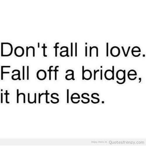 Fall, Love, and Memes: Don't fall in love  Fall off a bridge,  it hurts less  Enjoy More Quotes frenzy.com