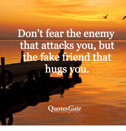 Dont Fear The Enemy That Attacks You But The Fake Friend That Hugs