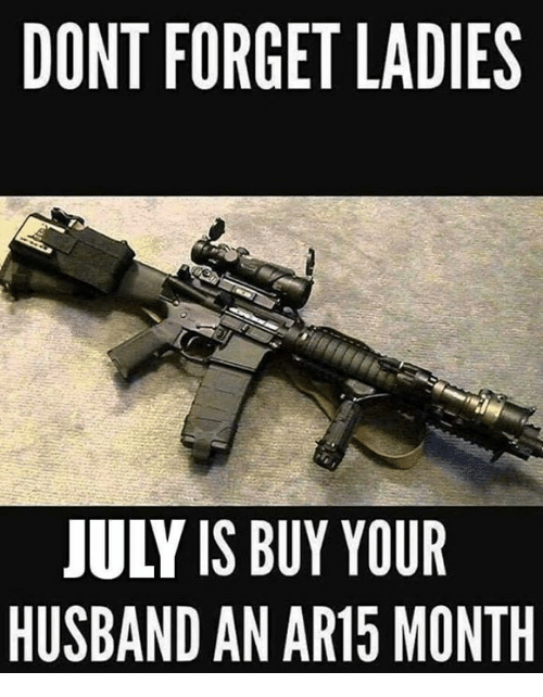 Memes, Husband, and Ar15: DONT FORGET LADIES  JULY IS BUY YOUR  HUSBAND AN AR15 MONTH