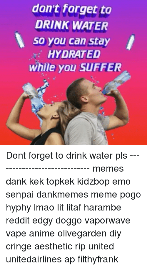 Pls Memes: don't forget to  DRINK WATER  so you can stay  HYDRATED  while you sUFFER Dont forget to drink water pls ----------------------------- memes dank kek topkek kidzbop emo senpai dankmemes meme pogo hyphy lmao lit litaf harambe reddit edgy doggo vaporwave vape anime olivegarden diy cringe aesthetic rip united unitedairlines ap filthyfrank