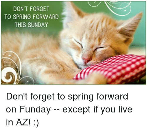Memes, 🤖, and Forgeted: DON'T FORGET  TO SPRING FORWARD  THIS SUNDAY Don't forget to spring forward on Funday -- except if you live in AZ! :)