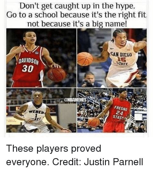 Hype, Nba, and San Diego: Don't get caught up in the hype  Go to a because it's the right fit  not because it's a big name!  SAN DIEGO  DAVID so  STATE  30  FRESNO  STAT These players proved everyone. Credit: Justin Parnell