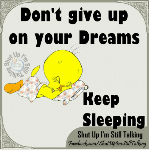 Keep Sleeping: Don't give up  on Your Dreams  Keep  Sleeping  Shut Up I'm Still Talking  Facebook.com/shut upgmJlil Talking