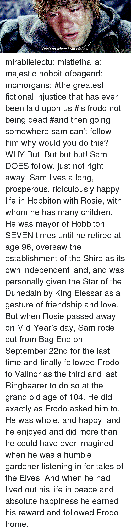 bag end: Don't go where I can't follow mirabilelectu:  mistlethalia:   majestic-hobbit-ofbagend:   mcmorgans:   #the greatest fictional injustice that has ever been laid upon us#is frodo not being dead#and then going somewhere sam can't follow him   why would you do this?   WHY   But! But but but! Sam DOES follow, just not right away. Sam lives a long, prosperous, ridiculously happy life in Hobbiton with Rosie, with whom he has many children. He was mayor of Hobbiton SEVEN times until he retired at age 96, oversaw the establishment of the Shire as its own independent land, and was personally given the Star of the Dunedain by King Elessar as a gesture of friendship and love. But when Rosie passed away on Mid-Year's day, Sam rode out from Bag End on September 22nd for the last time and finally followed Frodo to Valinor as the third and last Ringbearer to do so at the grand old age of 104. He did exactly as Frodo asked him to. He was whole, and happy, and he enjoyed and did more than he could have ever imagined when he was a humble gardener listening in for tales of the Elves. And when he had lived out his life in peace and absolute happiness he earned his reward and followed Frodo home.