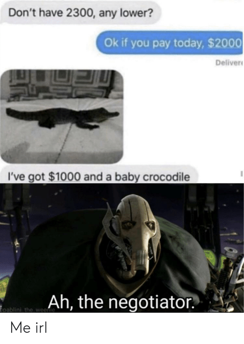 deliver: Don't have 2300, any lower?  Ok if you pay today, $2000  Deliver  I've got $1000 and a baby crocodile  Ah, the negotiator  pablini the weenie Me irl