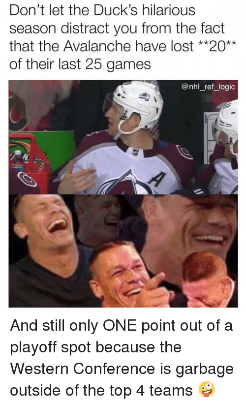 National Hockey League (NHL): Don't let the Duck's hilarious  season distract you from the fact  that the Avalanche have lost **20**  of their last 25 games  @nhl_ref_logic And still only ONE point out of a playoff spot because the Western Conference is garbage outside of the top 4 teams 🤪