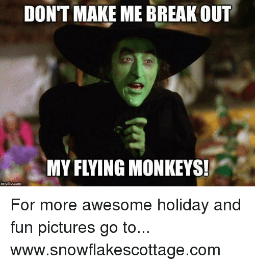 flying monkeys: DON'T MAKE ME BREAK OUT  MY FLYING MONKEYS!  imgflip.com For more awesome holiday and fun pictures go to... www.snowflakescottage.com
