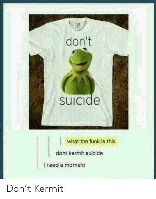 kermit: don't  suicide  what the fuck is this  dont kermit suicide  i need a moment Don't Kermit