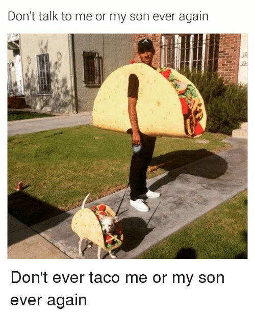 Dank Memes: Don't talk to me or my son ever again Don't ever taco me or my son ever again