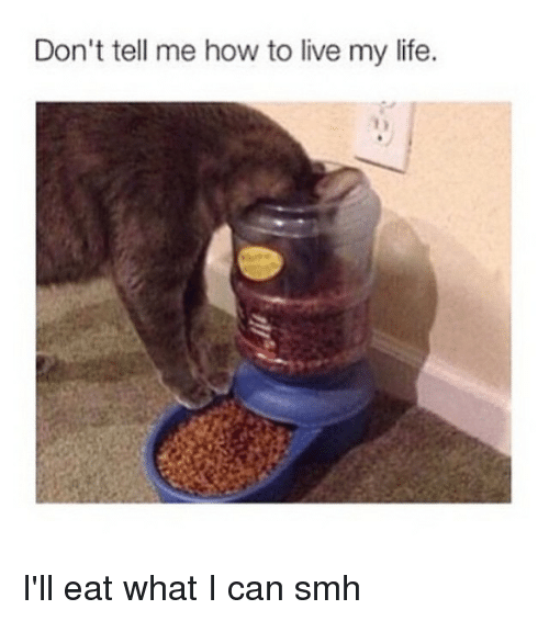 Life, Smh, and How To: Don't tell me how to live my life. I'll eat what I can smh