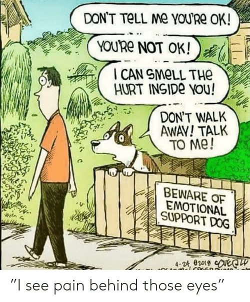 """dont tell me: DON'T TELL Me YOU'Re OK!  YOURE NOT OK!  I CAN SMOLL THe  HURT INSIDE YOu!  DON'T WALK  AWAY! TALK  TO Me!  BEWARE OF  EMOTIONAL  SUPPORT DOG  4-24, e2019 ceQ  CRO cocED AD """"I see pain behind those eyes"""""""